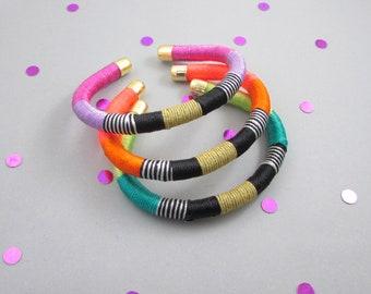 Tribal wrapped cord bracelets,Bracelet stack,Boho colorful bracelets, Tribal bracelets,Artisan bracelets,Gift for her,Cuff bracelets