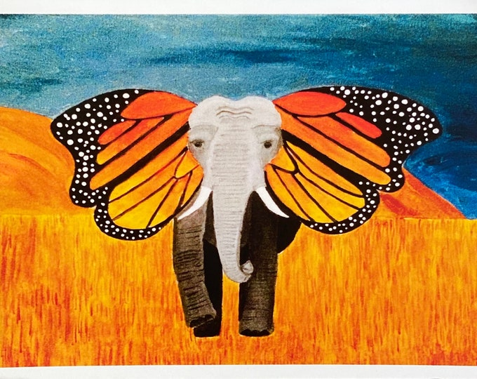 Watercolor painting PRINT card decoration gift acrylic dream catcher sea turtle elephant monarch butterfly fire fox Simba tiger love birds