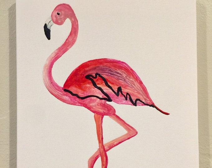 Flamingo Melted Crayon Art, fundraiser, crayola, 11X14 inch canvas