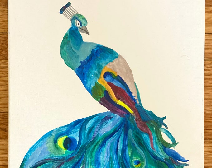 Peacock Melted Crayon Art-11X14 inch canvas- non profit support- unique handmade art work