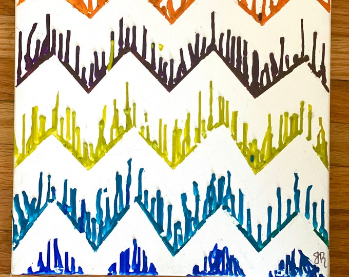 Chevron Melted Crayon Art- Stretched Canvas- gift ideas- handmade- Crayola-unique