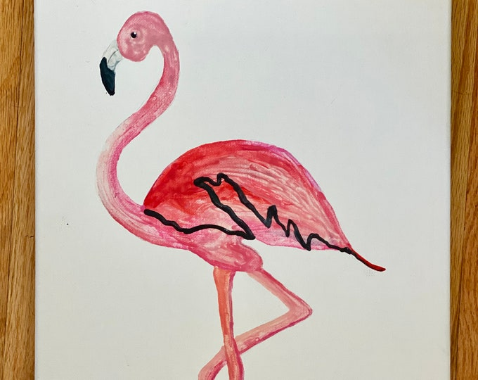 Flamingo Melted Crayon Art-11X14 inch canvas- non profit support- unique handmade art work