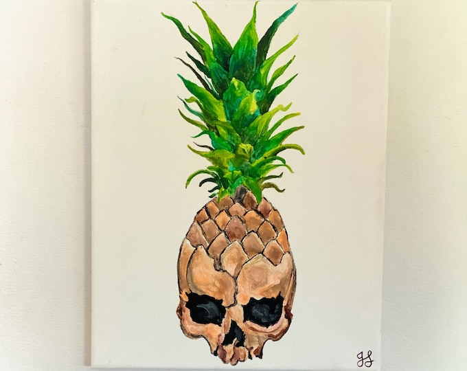Pineapple Skull Melted Crayon Art-11X14 inch canvas- non profit support- unique handmade art work