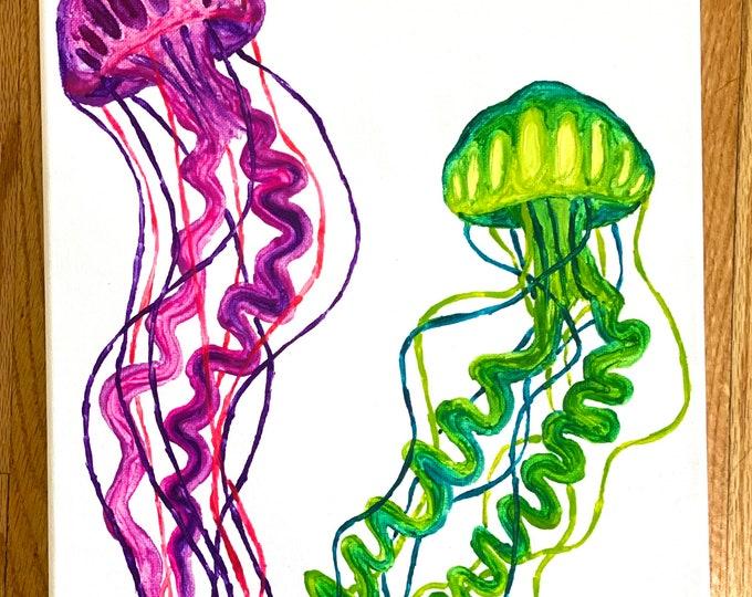 Jellyfish Melted Crayon Art- 11X14 inch canvas- non profit support- unique handmade art work