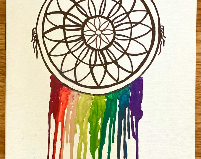 Dream catcher Melted Crayon Art-11X14 inch canvas- non profit support- unique handmade art work