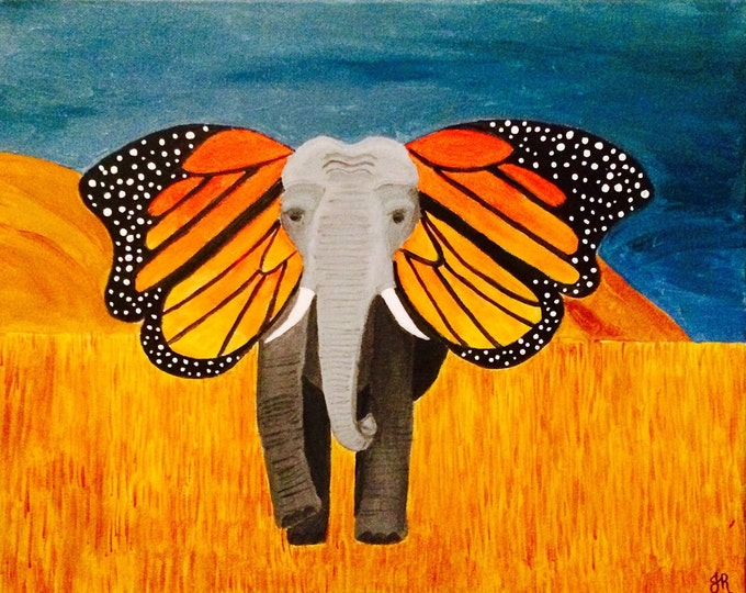 Large Elephant butterfly acrilic painting, monarch ears, african savannah
