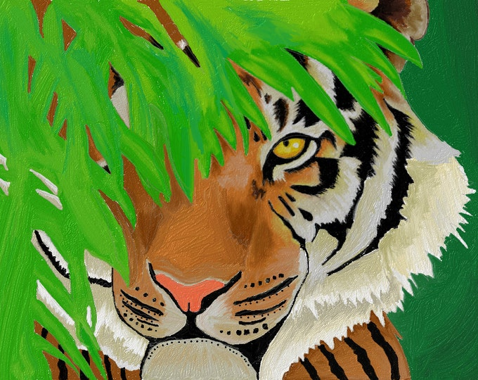 Tiger in the jungle oil painting PRINT card decoration