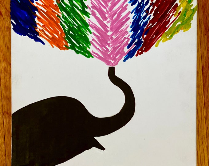 Elephant Melted Crayon Art-11X14 inch canvas- non profit support- unique handmade art work