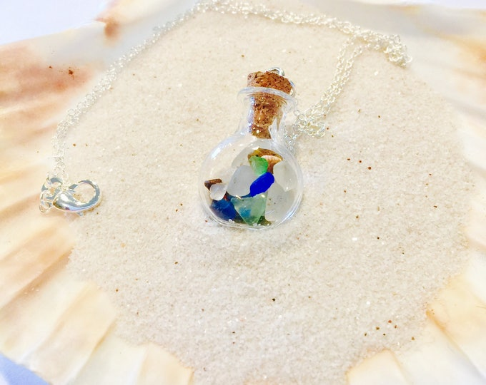 Multicolored Sea glass cork vile necklace all natural blue green brown white silver hypoallergenic ocean gift 1