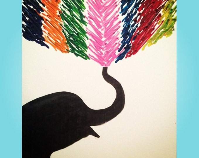 Elephant Melted Crayon Art •Customizable• 11X14 inch canvas