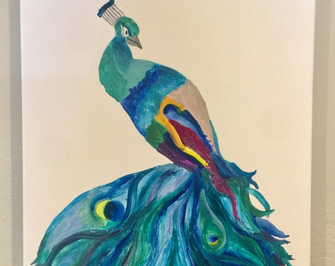 Peacock Melted Crayon Art, fundraiser, crayola, 11X14 inch canvas