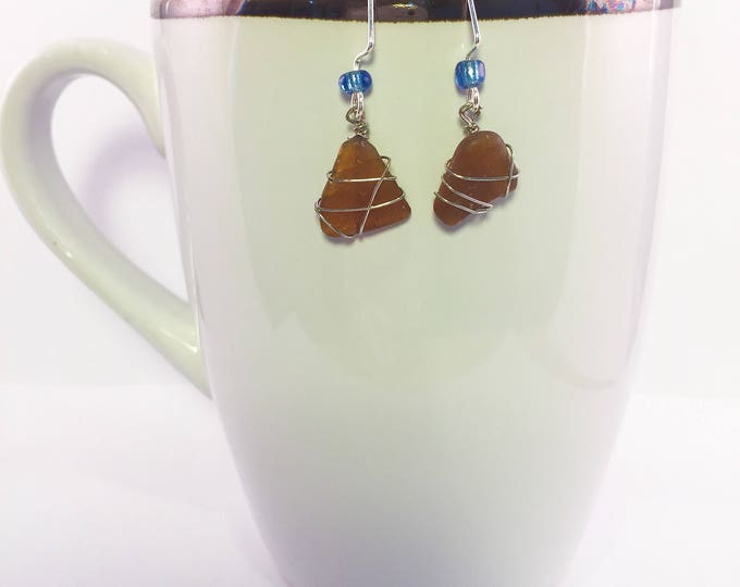 Sea glass dangle earrings all natural brown wire wrapped beaded hypoallergenic ocean gift