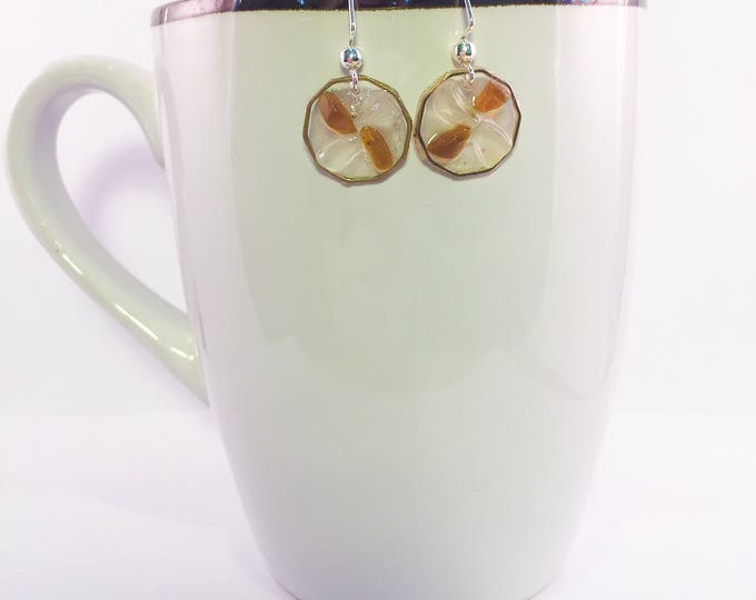 Sea glass dangle earrings all natural brown and clear geometric shape ocean gift hypoallergenic