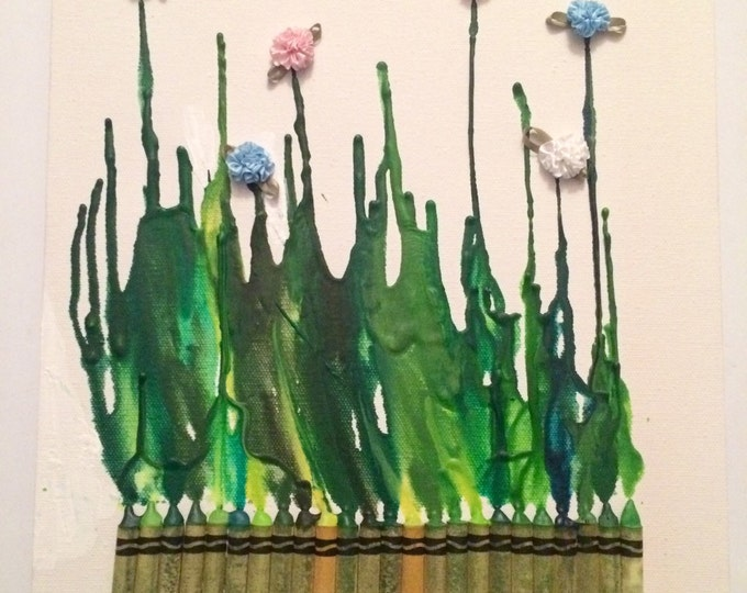 Flower Melted Crayon Art •Customizable• 11X14 inch canvas