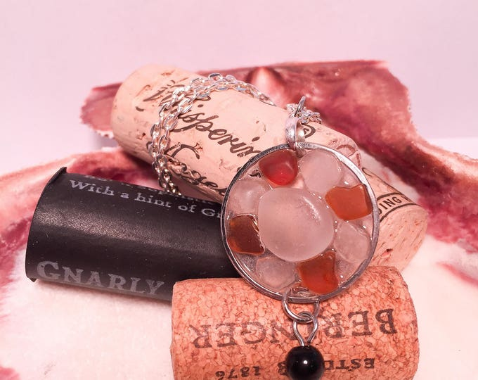 Sea glass round necklace in clear epoxy all natural multicolored brown clear beaded hypoallergenic ocean gift