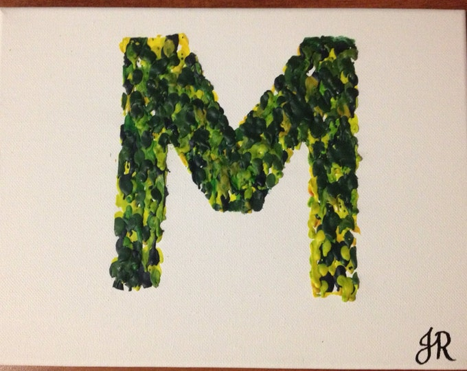 Letter Melted Crayon Art •Customizable•11X14 inch canvas