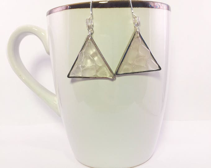 Sea glass dangle earrings all natural clear geometric shape ocean gift hypoallergenic