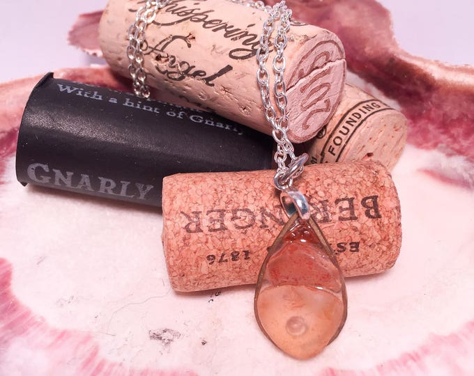 Sea glass necklace in clear epoxy all natural orange ombre hypoallergenic ocean gift