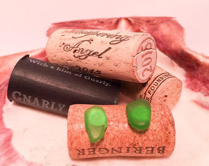 Sea glass stud earrings all natural green hypoallergenic ocean gift