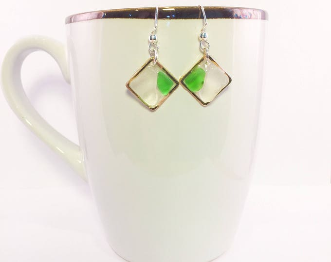 Sea glass dangle earrings all natural clear and green geometric shape ocean gift hypoallergenic