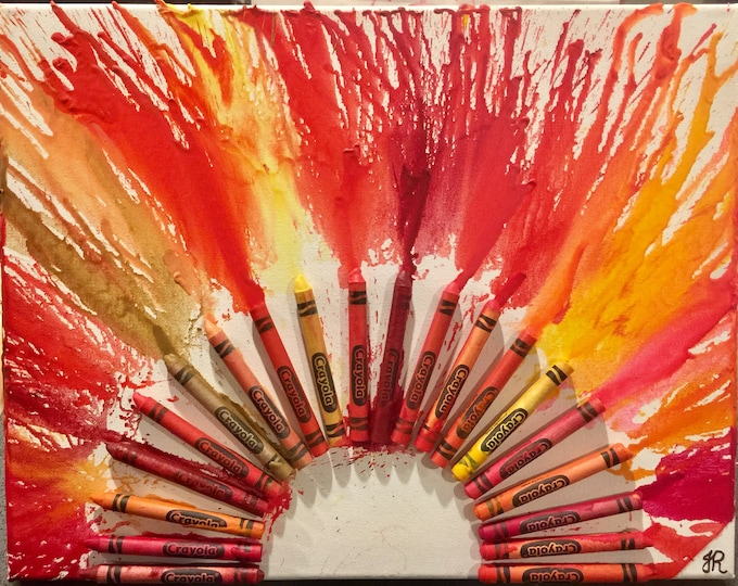 Sun Melted Crayon Art •Customizable• 11X14 inch canvas