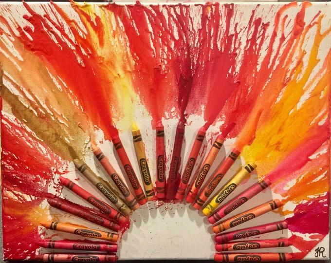 Sun Melted Crayon Art •Customizable• 11X14 inch canvas