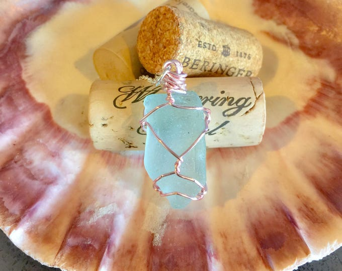 Blue Sea glass wire wrapped necklace all natural pink hypoallergenic ocean gift