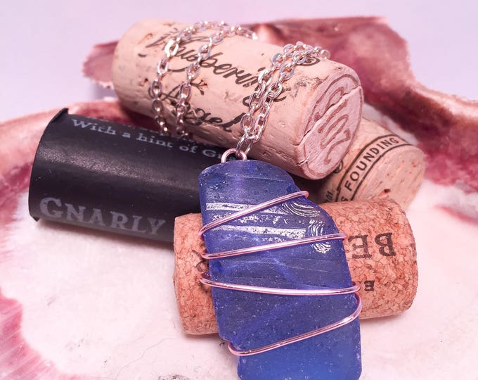 Sea glass wire wrapped necklace all natural blue pink hypoallergenic ocean gift