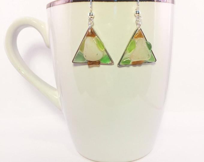 Sea glass dangle earrings all natural brown green clear white triangle geometric shaped ocean gift hypoallergenic