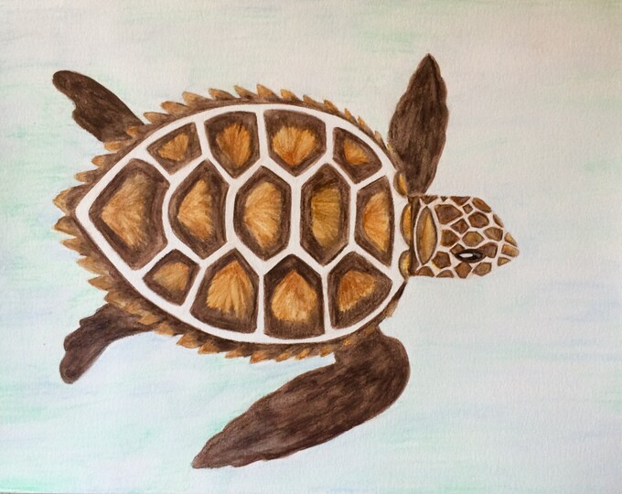 Sea turtle Watercolor painting PRINT card decoration