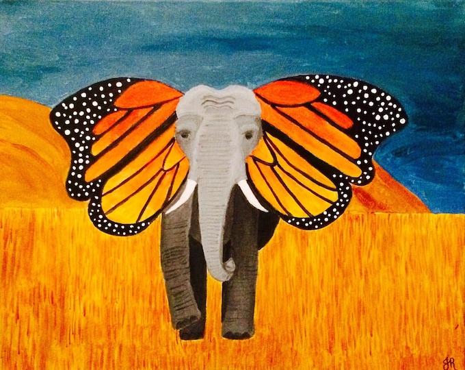 Large Elephant butterfly acrilic painting, monarch ears, african savannah