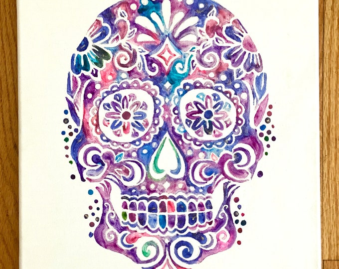Sugar Skull Melted Crayon Art- 11X14 inch canvas- non profit support- unique handmade art work