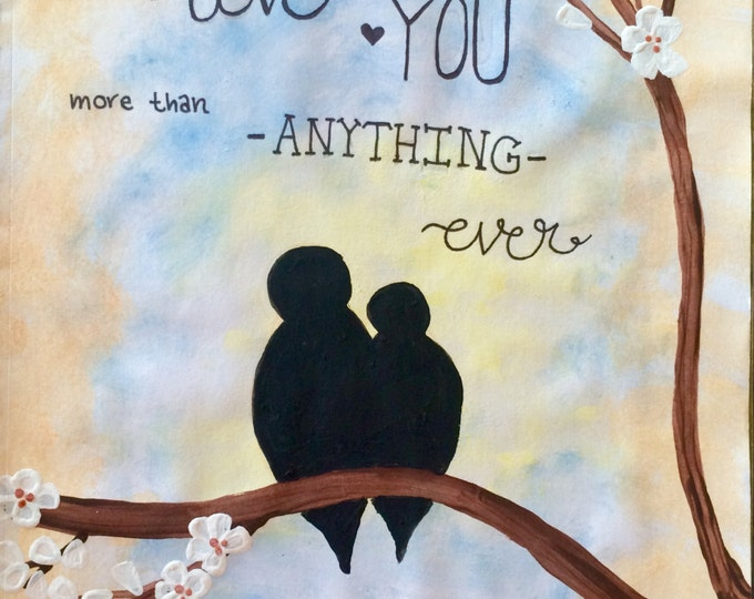 Love birds on a branch Watercolor painting PRINT card decoration