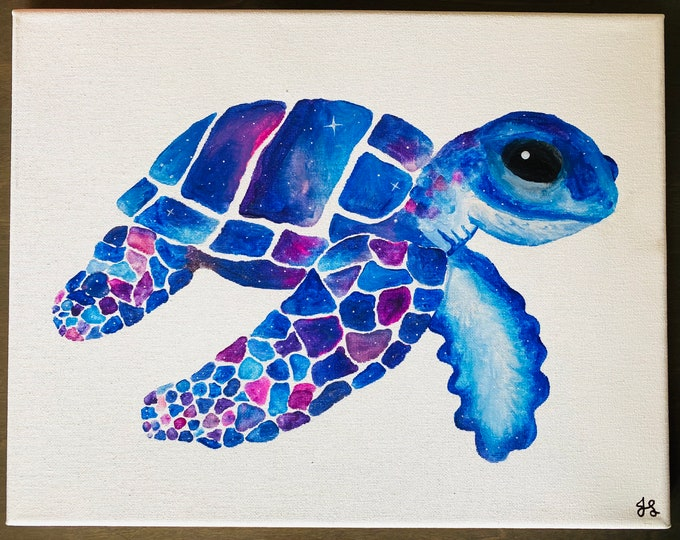 Galaxy Space Sea Turtle Melted Crayon Art- 11X14 inch canvas- non profit support- unique handmade art work
