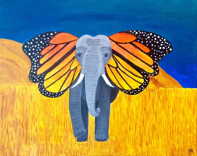 Elephant  Monarch Butterfly acrylic painting PRINT card decoration gift fundraiser