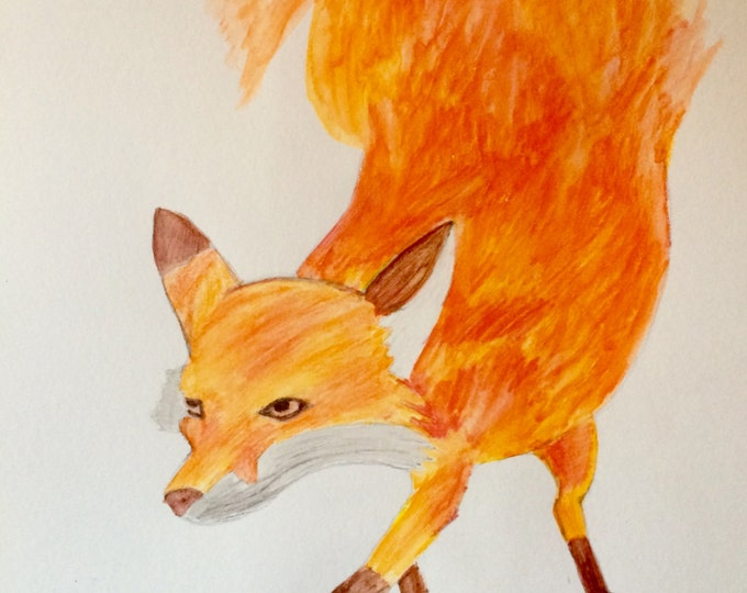 Fire fox Watercolor painting PRINT card decoration