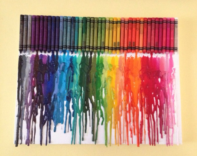 Rainbow Melted Crayon Art •Customizable• 11X14 inch canvas- unique handmade artwork non profit support