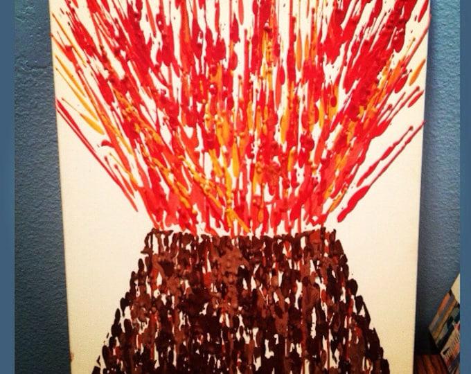 Volcano Melted Crayon Art- 11X14 inch canvas- non profit support unique handmade artwork