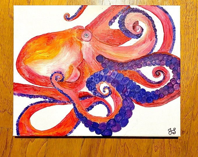 Octopus Melted Crayon Art- 11X14 inch canvas- non profit support- unique handmade art work