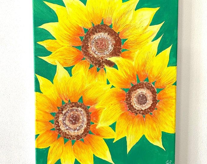 Sunflower Melted Crayon Art- 11X14 inch canvas- non profit support- unique handmade art work