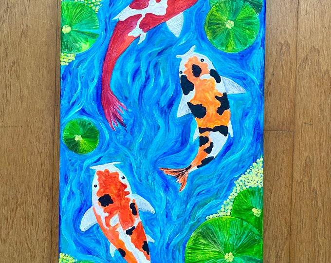 Koi fish pond Melted Crayon Art-20X10 inch canvas- non profit support- unique handmade art work