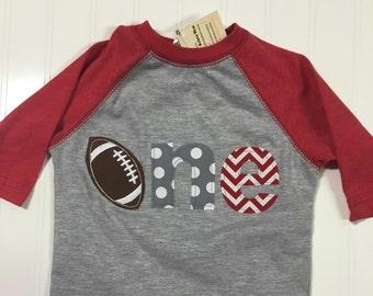 1st birthday football shirt, touch down party boys first birthday football shirt, Sports birthday theme shirt, baby raglan shirt, 1 2 3 4