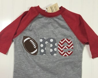 1st birthday football shirt, boys first birthday football shirt, Sports birthday theme shirt, baby raglan shirt, 1 2 3 4 football shirt, boy