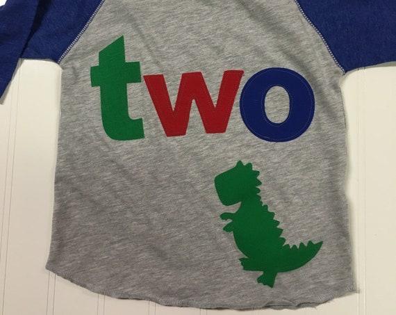 2  t rex dinosaur birthday t shirt, boys dinosaur birthday shirt, 2nd birthday dinosaur shirt, raglan style shirt, green red blue applique