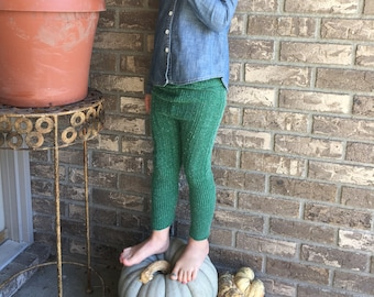 Green sweater pants, green leggings, green cable knit pants, fall girls boys clothes, green leggings, christmas pants, size 4/5 legging RTS