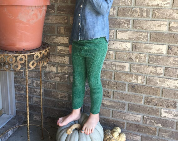 Green sweater pants, green leggings, green cable knit pants, fall girls boys clothes, green leggings, christmas pants, size 4/5 legging RTS
