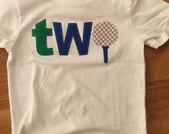 golf birthday theme shirt, baby boy two golf ball shirt, Golf 1 2 3 4 birthday shirt, tee first birthday shirt, second birthday shirt, golf