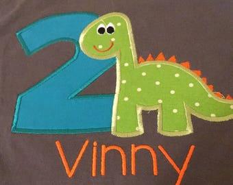 T Rex dinosaur birthday shirt 2nd birthday, two boys dino birthday shirt, orange turquoise lime green, Roar dino shirt