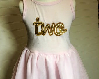 Two gold Birthday girls tutu dress, pink and gold two birthday, gold pink birthday, sparkly gold girls birthday shirt, embroidery tutu dress