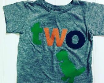 TWO t rex birthday t shirt, boys dino birthday shirt, 2nd birthday dinosaur shirt, navy, orange green boys t shirt, dinomite birthday, two